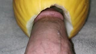 Big dick fucking Watermelon close up