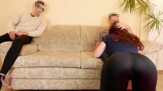 Cuckold husband watches wife fucking and licks like a doggy