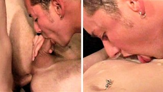 Raw Fuck + Cum-Eating 3-Way – Cute Guy Eats 3 Loads of Spunk – Semen Swallowing
