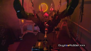Spirits in the Playroom sees a rubber guy in solo action with a fucking and sucking machines