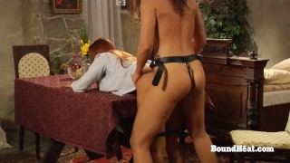 Horny Lesbian Madame Takes Big Strapon From Behind By