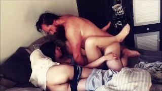 Husband and Bestfriend take turns cumming in Wife.