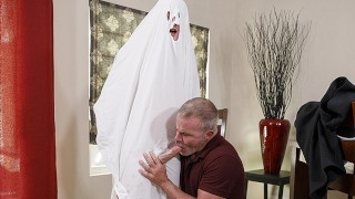 Horny GILF Sucks Ghost Stepgrandsons Cock
