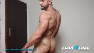 Angelo Lombardy on Flirt4Free - Muscle Hunk Oils Up His Ripped Body and Plays with His Tight Hole