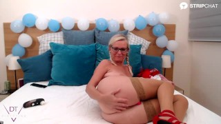A german pornstar, Dirty Tina plays with her pussy using sex toys and wearing an Oktoberfest dirndl