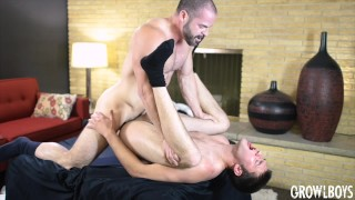 GrowlBoys - Young man fucked bareback 2x by hairy daddy satyr monster