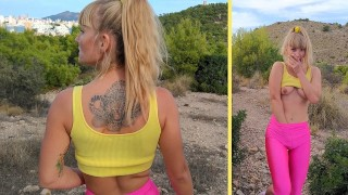 Risky OUTDOOR masturbation & squirt. Perfect ass in pink spandex leggings. Fit girl Sasha Bikeyeva