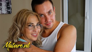 Curvy MILF In Nerdy Glasses Lets Neighbor Fuck Her Hairy Pussy