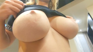Blonde Latina decides to play by giving a blowjob and enjoys moving her big tits and fucking