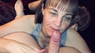 Mature wife sucking off a friend and sucking and swallowing the cum right out of him