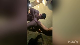 Roommate fucking a young twink in the bathroom