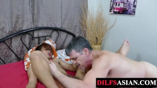 Bound Asian twink rimmed before breeding DILF