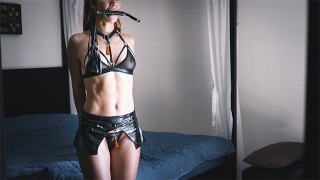 Tied Up Super Hot Teen in Bondage Gets Hard Cock in Her Tiny Ass - Anal Fetish with Butt Plug