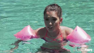 Beautiful Petite Brunette Proves She Is Big Enough To Swim And Big Enough To Fuck A Huge Cock