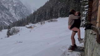 Couple HIDE TO FUCK while hiking IN THE SNOW,mountain forest and birdsong, romantic intimate love