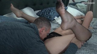 Sexy mom in black fishnets gets her pussy licked and fucked to orgasm