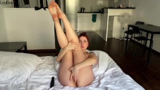 Solo masturbation and orgasm by a pretty girl. LeoKleo