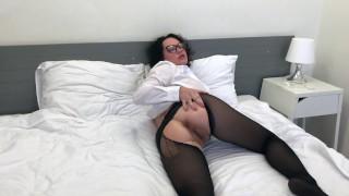 Slut Eats Cum From Her Torn Nylon Pantyhose!