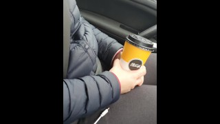 Step mom make step son cum in 20 seconds in the car on her hands