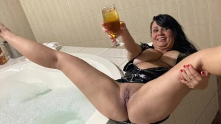 nurse in a wild fuck in the jacuzzi after a day at work to relax enjoying a lot