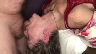 Sexy Hot Mature MILF Loves Rough Upside Down Gagging Balls Deep Throat Fuck Deepthroat With Bulge