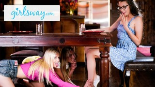 Girlsway Aidra Fox, Elena Koshka & Their Bestie Finger Each Other Hard After Lunch