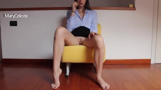 This horny amateur gives you instruction on how to jerk off, but she has no panties under her skirt