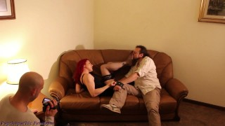 Smell Stockings And Feet, Worship Feet Then Cum While Dominant Couple Makes Video Femdom