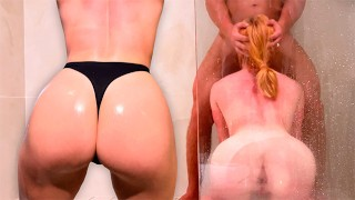 Muscular Lover Facefuck and Doggystyle Fuck Sexy Redhead in Shower until Cum in Mouth