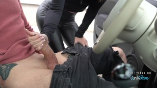 Hot girl in leather leggings picked up off the street and fucked in public