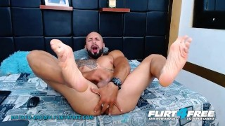 Matheo Brown on Flirt4Free - Bald Latino Stud Toys His Ass and Shoots a Big Stream of Cum