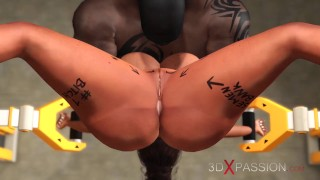 Restricted area. A sexy ebony in restraints gest fucked hard by a black big cock