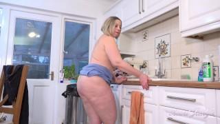 Aunt Judy's - Busty 48yo BBW Star gets WET in the KITCHEN