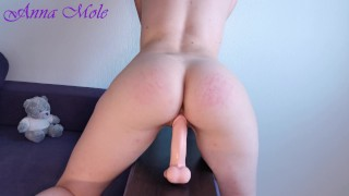 Girl with big booty rides a Didlo and dreaming of hot sex. Morning orgasm. Anna Mole