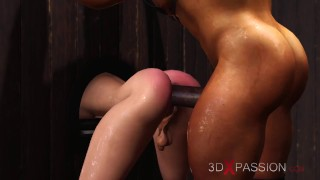 Hardcore in the basement! A sexy horny tranny girl has hard anal sex