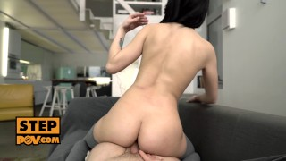 Sneaky step daughter Nikki Fox cums all over your cock