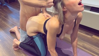 Wife fucked during yoga session while husband watches and films / Creampie in yoga pants / Hotwife