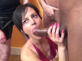 Tiny milf takes a facefull of cum