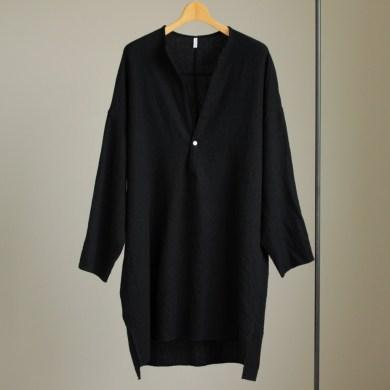FIRMUM | フィルマム [ FBGPO|梳毛トップウール縮絨ガーゼツイルP/Oビッグシャツワンピース #black ]