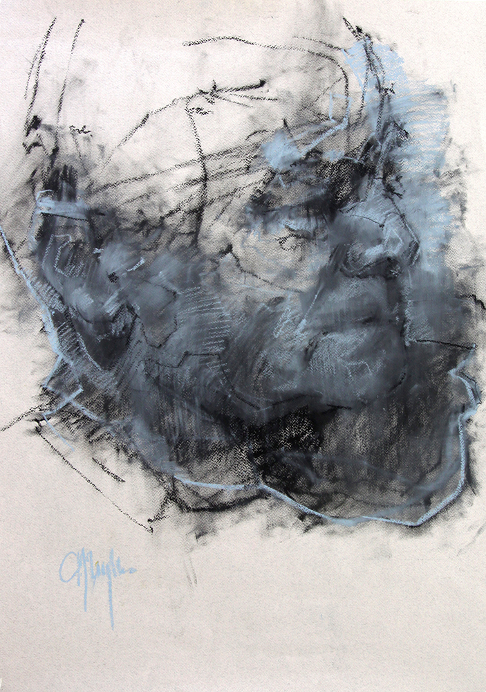 Head of a Man chalk on paper , 29 x 21 inches