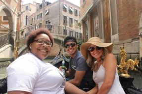 On a gondola ride in Venice with Jas and Hannah