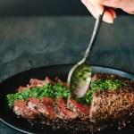 Chimichurri Steak Recipe with Peppercorn Crust