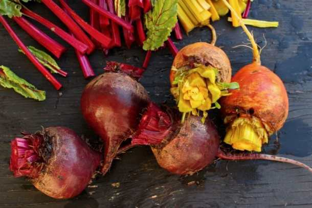 Red and Golden Beets on a Wood Table