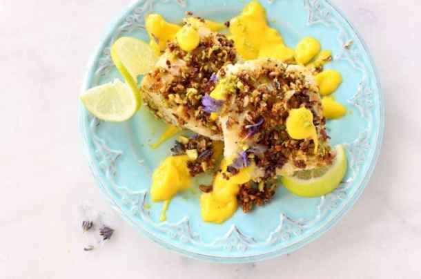Blue Plate with Baked Pistachio Crusted Fish and Mango Sauce