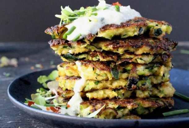 Stacked Zucchini Patties with Tzaziki Sauce