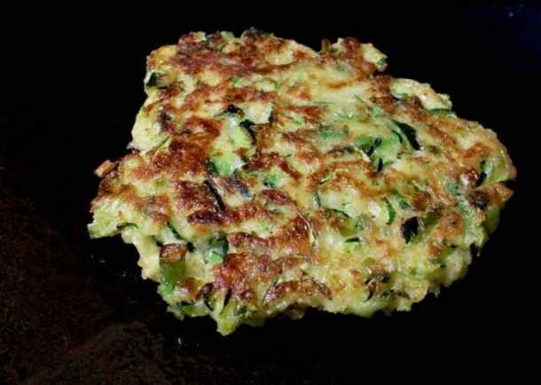 Zucchini Cakes in Cast Iron Skillet