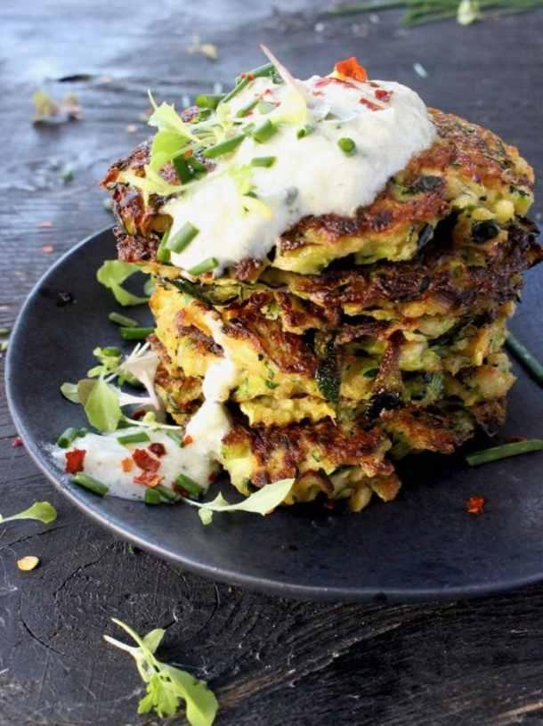 Stacked Zucchini Cakes with Yogurt and Herbs