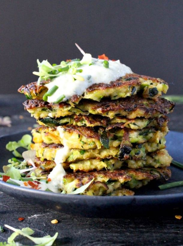 Stack of Zucchini Fritters with Panko Bread Crumb and Tzaziki Sauce