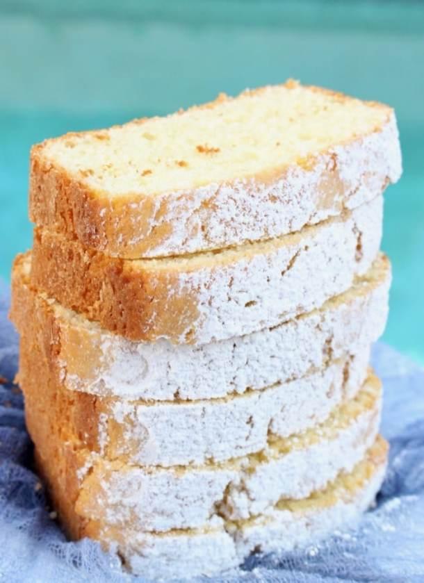 Greek Yogurt Lemon Cake / Loaf Slices with Powdered Sugar and Vanilla
