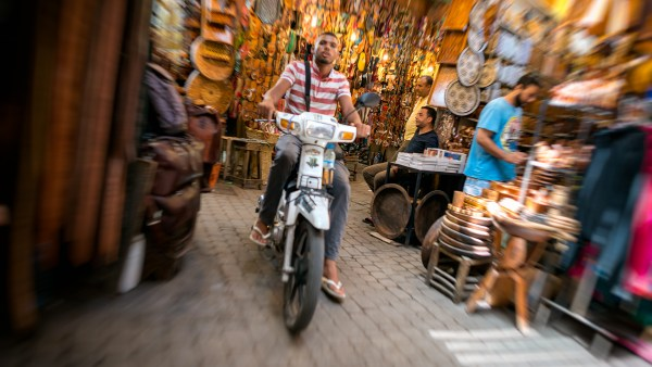 Motorcycle guy in the souks of Marrakech